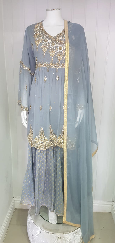 ladies gharara in chiffon fabric