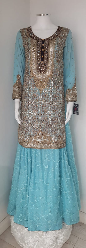 Light blue chiffon fabric heavy shirt embroidery with langha