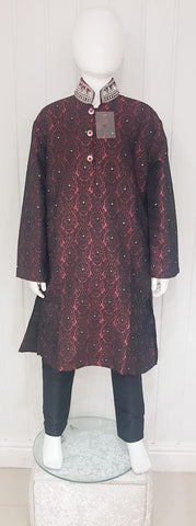 Maroon & black kurtah pajama with collar embroidery D.NO A104