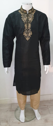 Men,s Black Poly Doupin Kurta Pyjama