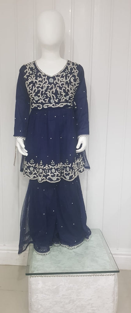 Blue  Gharara Girls Outfit