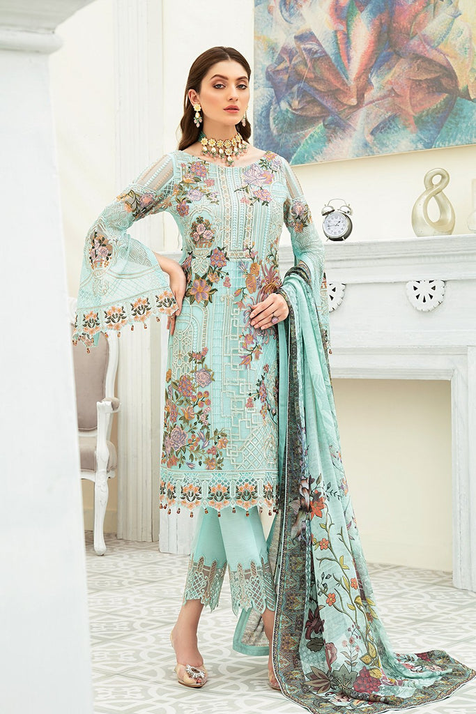 Ramsha Collection Embroidered Chiffon Front With Sequins F1908