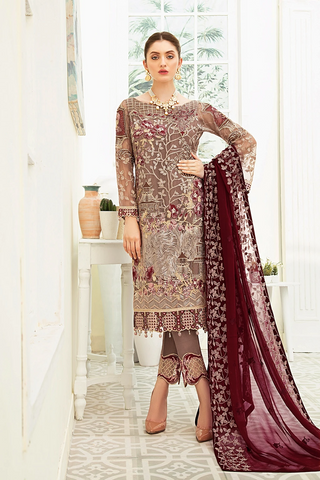 Ramsha Collection Embroidered Chiffon Front With Sequins