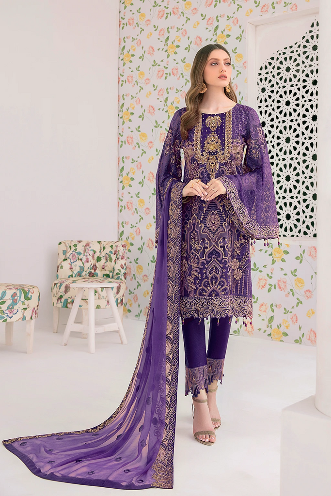 A Readymade Ramsha Minal Collection Embroidered Chiffon Front With Sequins M-306