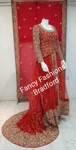 Traditional Red Embroidered Bridal Lengha