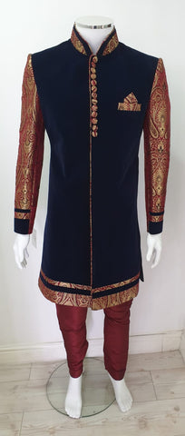 Navy blue velvet  & maroon  men sharwani D.N0.A103