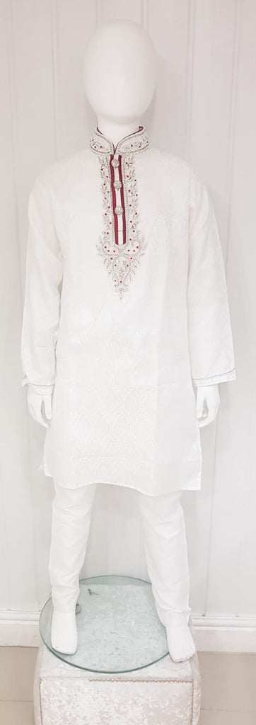 White brocade kurta pyjama with neck line embroidery D.NO A102