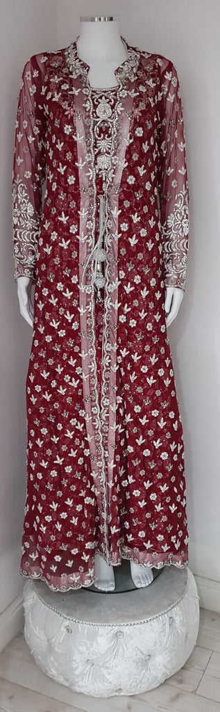 Maroon Embroidered Party Wear With Stone Detailing On Net Material