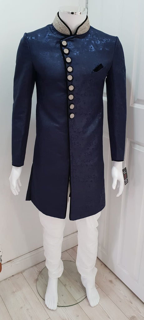 Navy Blue Indo Western Outfit On Brocade Fabric