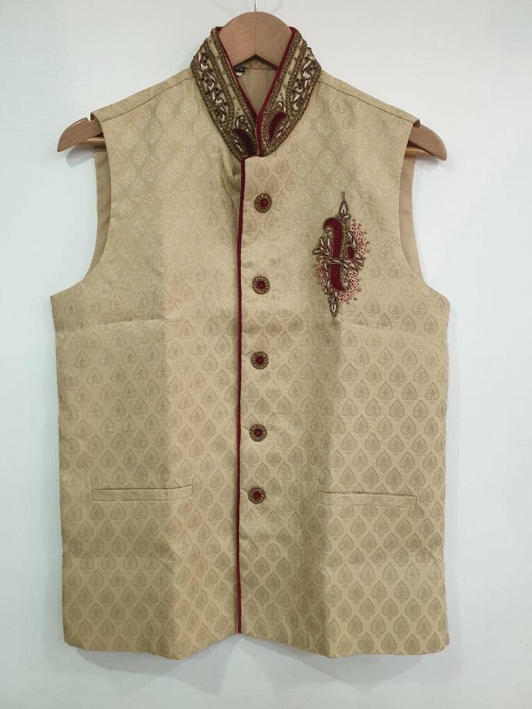 Gold Waistcoat With Stone Embroidery