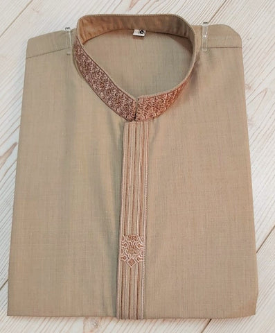 Mens Light Brown Casual Salwar Kameez