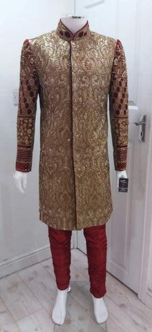 Heavy Groom Sherwani With Gold Embroidery