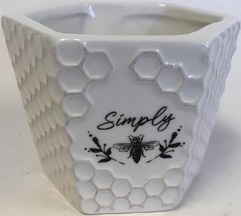 "Planter Honeycomb White ""Simply "", ""Thankful"", ""Joyful"""