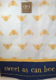 Kitchen Towel Gold Bees on White Blue Base