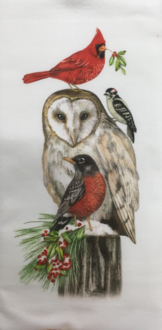 Kitchen Towel Flour Sack Barn Owl and Birds Winter