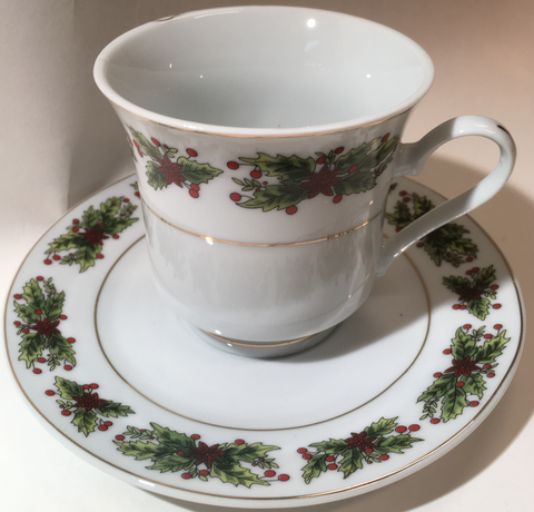 Cup and Saucer Holly & Berries