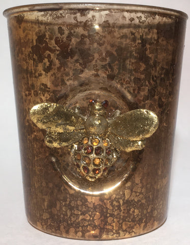 Candle Holder Glass with Jeweled Bee Votive or tea light fits