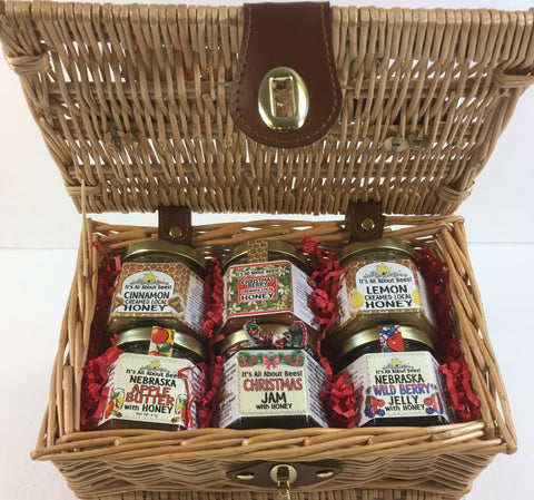 Gift Basket Picnic - 3qty Creamed Honey, 2qty Jam&Jelly, 1qty Fruit Butter