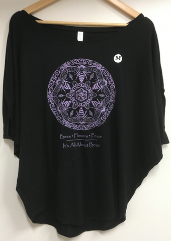 Apparel Women's Black Flowy Lavender Print