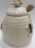 Honey Pot with Bees White Ceramic