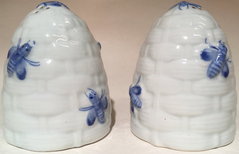Kitchen Salt & Pepper Shaker Set White Skep Blue Bees