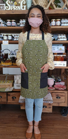 Apron Unisex Green with Bees