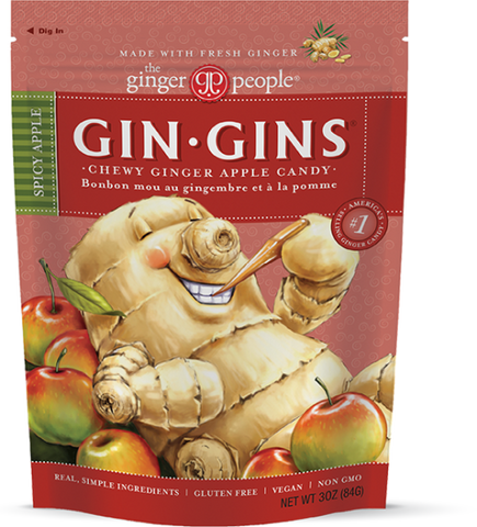 Gin Gins Spicy Apple Ginger Chews 3oz