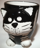 Cup Mug Cat Black & White Ceramic