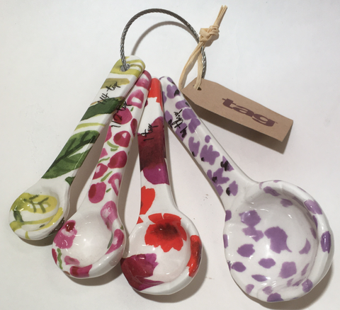 Kitchen Flowers and Bee Measuring Spoons Ceramic
