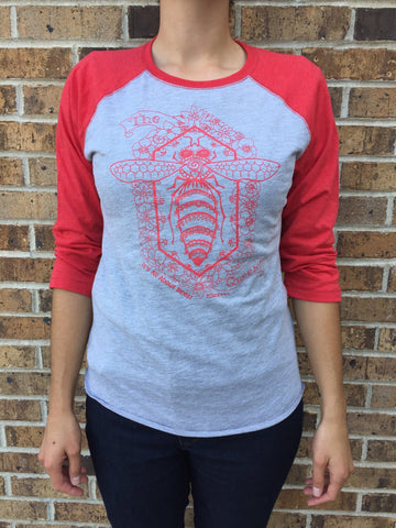 Apparel Queen Bee Baseball Tee - Red