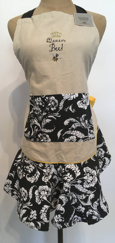 Apron Queen Bee Embroidered Ruffle