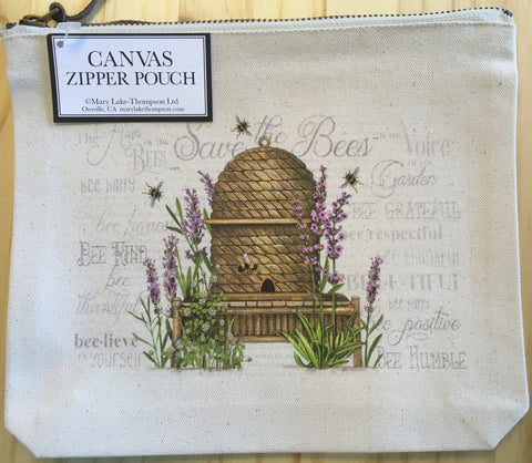Bag Canvas Pouch Lavender Beehive