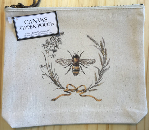 Bag Cavnas Pouch Bee Harvest Wreath