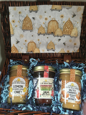 Gift Baskets Picnic Style - 2qty 10oz Creamed Honey and 1qty 8oz Jam