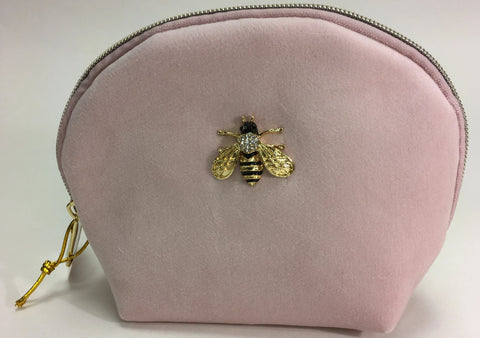 Pink velvet clam shell clutch with Jeweled Bee