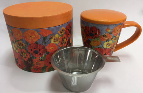 Bees and Poppies Ceramic Mug with lid, Tea Infuser and Gift Box