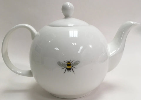 White Ceramic Tea Pot with Bumble Bee