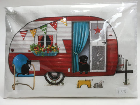 Red Camper Flour Sack Kitchen Towel