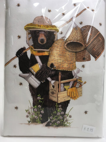 Beekeeper Bear Flour Sack Kitchen Towel