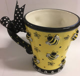 Cup Mug Bees Flowers and Dots