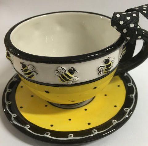 Cup Saucer Bee and Dots