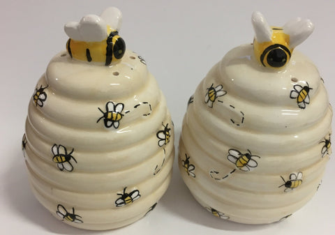 Kitchen Salt and Pepper Shakers Set Bees on Skeps