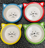 Cat  Face Shape Bowl Ceramic Blue