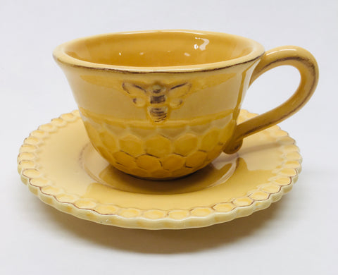 Cup Teacup and & Saucer Set Honeycomb pattern