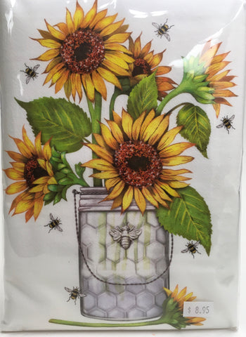 Sunflower and Bees Flour Sack Kitchen Towel
