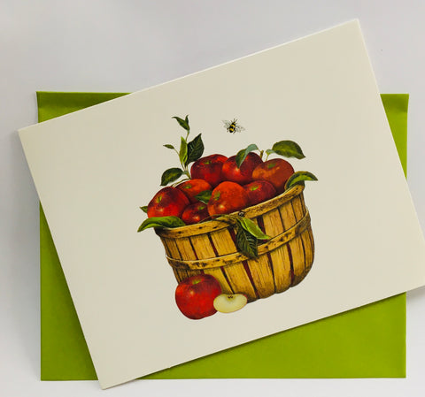 Note Cards Basket of Apples and Bee