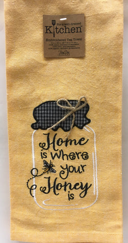 Bee Happy Home is where your Honey is Tea Towel