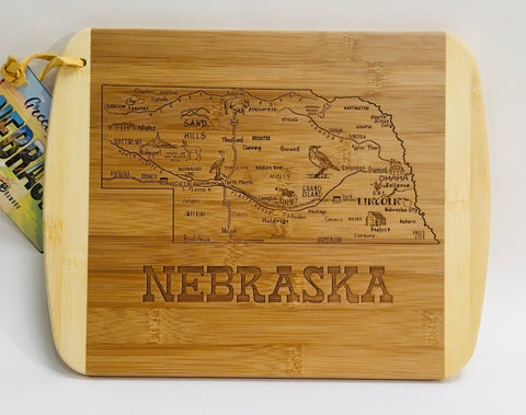 A slice of Nebraska Cutting Board, small map of nebraska