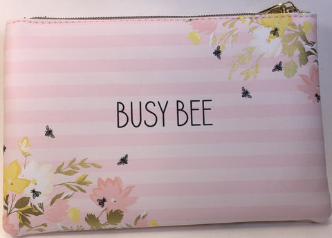 Busy Bee Pink Stripes Glam Bag