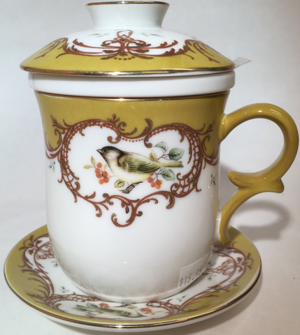 Cup Saucer, Lid, & Infuser Gold Accent With Song Bird